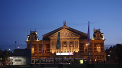 Concert building in Amsterdam at night Stock Footage