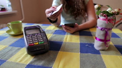 Using Credit Card Terminal with PIN in cafe Stock Footage