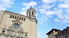 Time lapse of Girona Cathedral Stock Footage