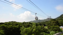 Cable Cars moving on bright summer day Stock Footage