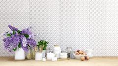 Purple flower with kitchen set on tile background - 3D Rendering Stock Illustration