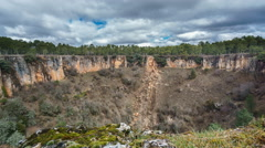 Wide angle of deep wolf torca in Cuenca. Sliding camera Stock Footage