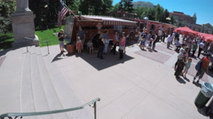 Food trucks at the Civic Center for Civic Center Eats event. Stock Footage