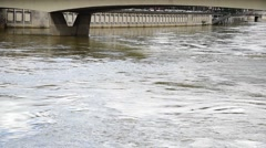 The water in the river flow with the high level after heavy rain become flooding Stock Footage