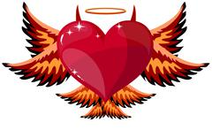 Devilish Heart With Horns And Wings Stock Illustration