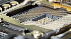 CPU socket of server mainboard, macro Stock Photos