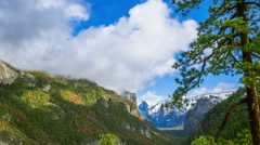 Time Lapse - Beautiful Clouds Moving Over Yosemite National Park Valley Stock Footage