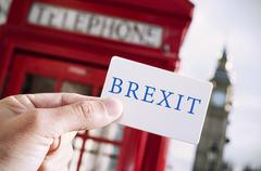 Red telephone booth and text Brexit Stock Photos