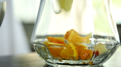 Preparation of alcoholic drinks Sangria - stock footage