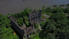 Bannerman Castle Pollepel Island fly back right Stock Footage