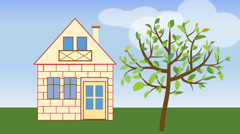 House building. Animated house construction in countryside with tree. Stock Footage