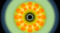 Movie of abstract dancing flower with blurry circle, fantasy rotating flower. Stock Footage