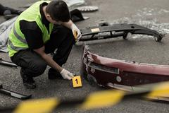 Scene after bomb explosion - stock photo