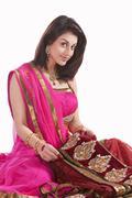 Portrait of a beautiful woman with wedding saree Stock Photos