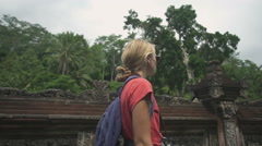 Wonderful Girl tourist in Indonesia Stock Footage