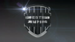 Equestrian Jumping - Chrome, 3D animation of the word Fencing on a shield  Stock Footage