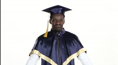 Graduate pouts. Student is upset. White. Close up - stock footage