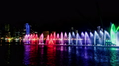 Timelapse of dreamy fountain show in Sharjah, UAE Stock Footage