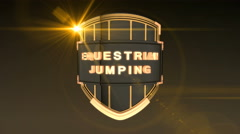 Equestrian Jumping - Orange, 3D animation of the word Fencing on a shield  Stock Footage