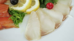 Fish table at banquet Stock Footage