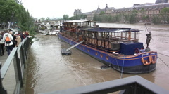 Paris, flood for of Seine in June 3rd 2016, Louvre, Calife barge, barges Stock Footage