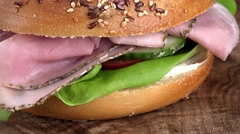 Rotating Bagel with Ham (not loopable; 4K) Stock Footage