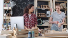 Locked-down medium shot of two cheerful female small business co-owners discu - stock footage
