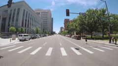 View of Downtown Denver through dash camera. Stock Footage