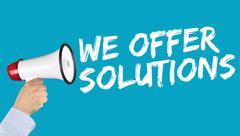 We offer solutions solution for problem business concept success help megapho Stock Photos