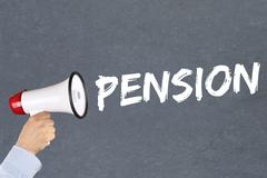 Pension retirement business concept megaphone Stock Photos