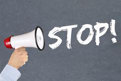 Stop wait waiting business concept career end ending megaphone - stock photo