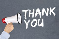 Thank you hand with megaphone - stock photo