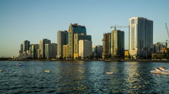 Timelapse of the buildings of downtown at sunset, Sharjah, UAE Stock Footage