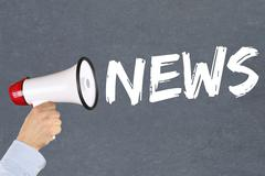 News media announcement announce information megaphone - stock photo