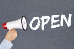 Open shop restaurant cafe supermarket retail business concept megaphone Kuvituskuvat