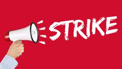 Strike protest action demonstrate jobs, job employees business concept hand w Stock Photos