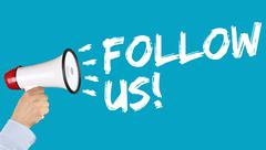 Follow us follower followers fans likes social networking media internet hand Stock Photos