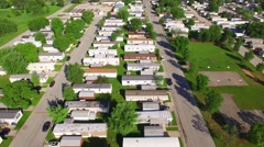 Vast trailer park, mobile home court on sunny summer morning - stock footage