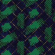 Snake skin green artificial seamless vector texture - stock illustration