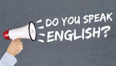 Do you speak English foreign language learning school megaphone - stock photo