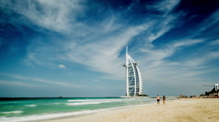 Timelapse of the Jumeirah beach and the Burj Al Arab and in Dubai, UAE Stock Footage