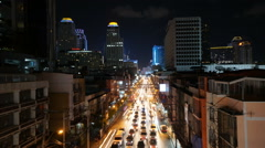 Fast Motion - City Traffic at Night. Traffic jam in busy Bangkok city timelapse  Stock Footage