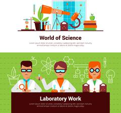 Science And Laboratory Work Banners - stock illustration