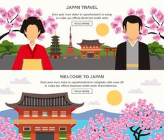 Japanese Culture 2 Horizontal Banners Set - stock illustration