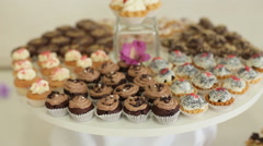 Wedding cakes on the table Stock Footage