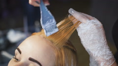 Professional hair color salon. An experienced stylist working with a client Stock Footage