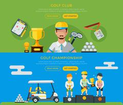 Golf Club And Championship Banners Stock Illustration