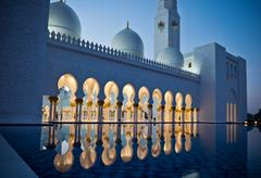 Sheikh Zayed White Mosque in Abu Dhabi at night - stock photo
