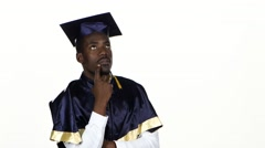 Graduate holding a finger at a face and thinks. White. Close up Stock Footage
