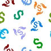 Money Care Hands Flat Vector Seamless Pattern Stock Illustration